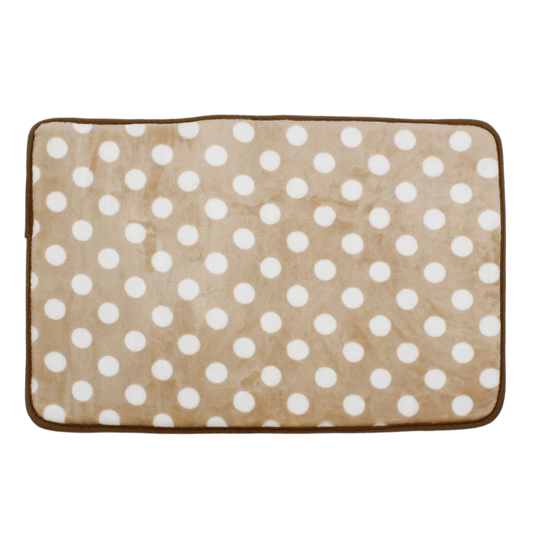Light Brown Fleece Dots Pattern Bathroom Floor Mat Area Rug Carpet 60cm x 40cm