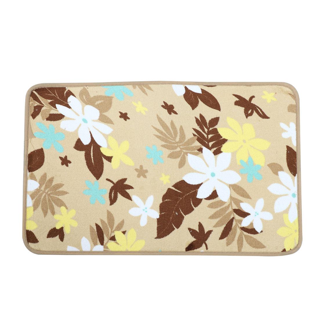 Beige Flower Leaves Print Bathroom Floor Mat Area Rug Carpet 60cm x 40cm