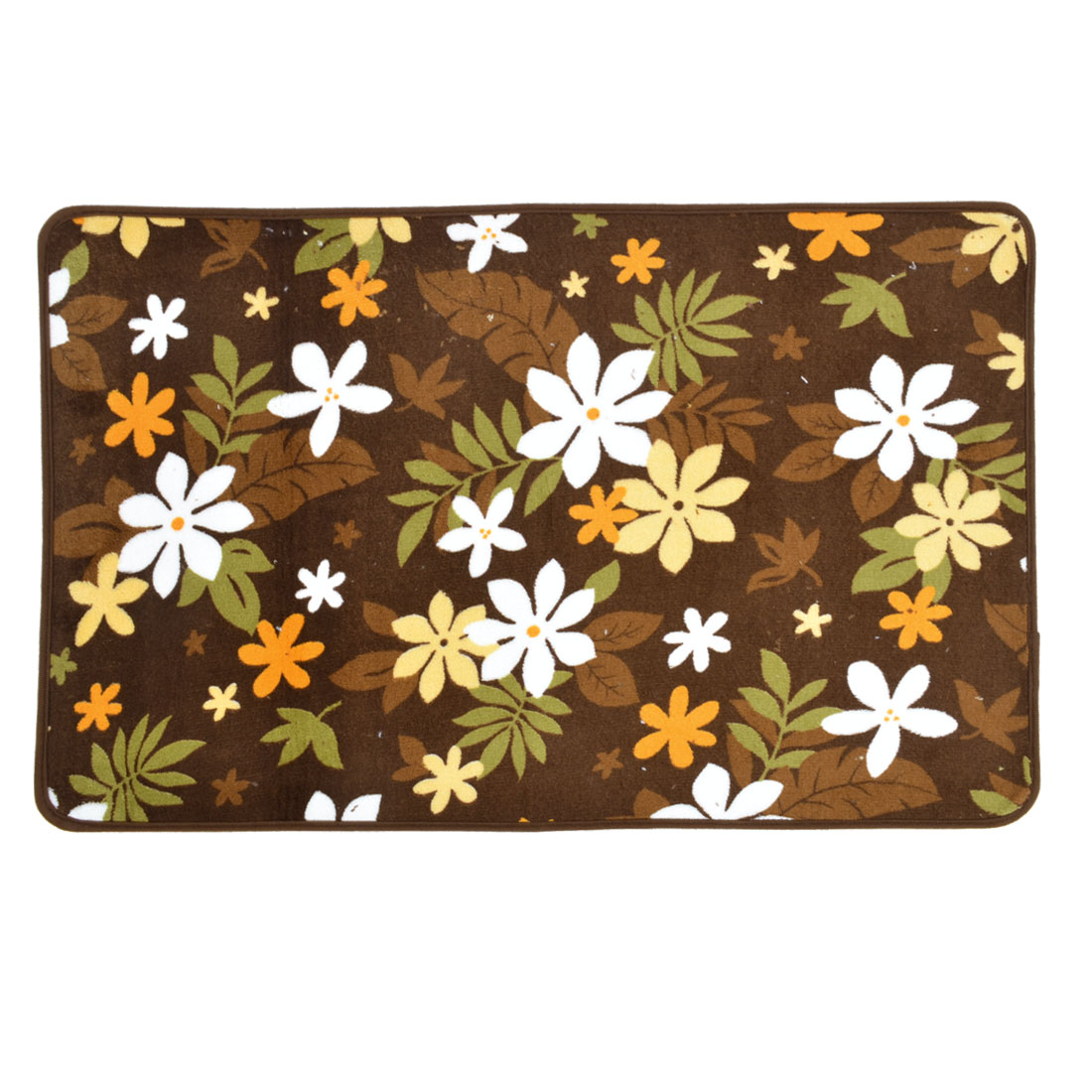 Brown Coral Fleece Flower Pattern Home Area Rug Carpet 80cm x 50cm
