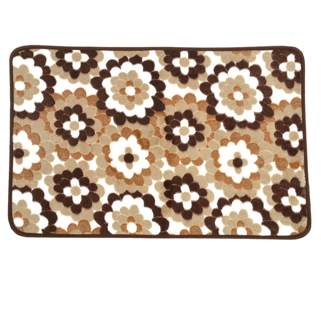Brown Coral Fleece Sunflower Pattern Kitchen Floor Area Rug Carpet 70cm x 45cm