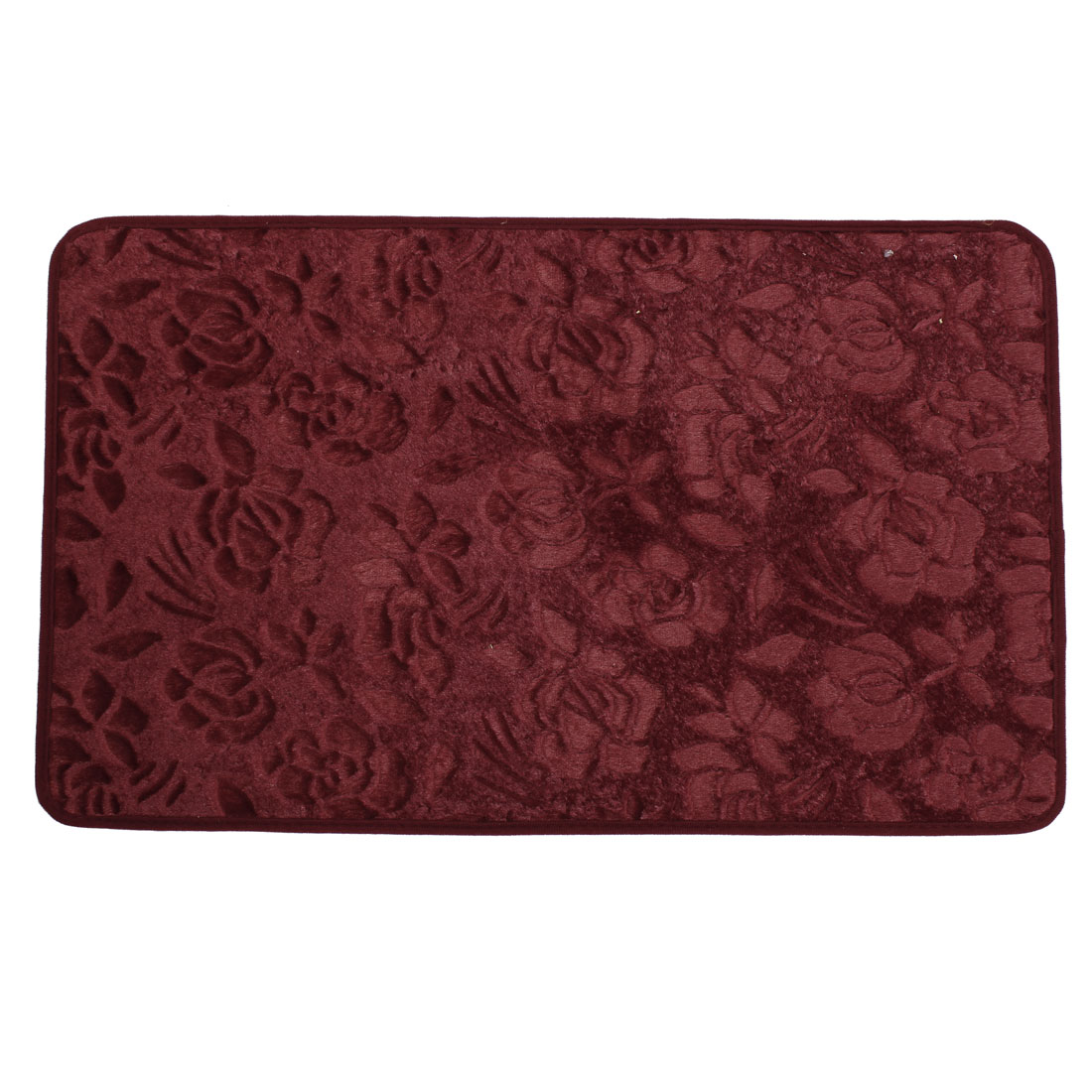 80cm x 50cm Burgundy Rose Print Nonslip Kitchen Floor Mat Area Rug Carpet