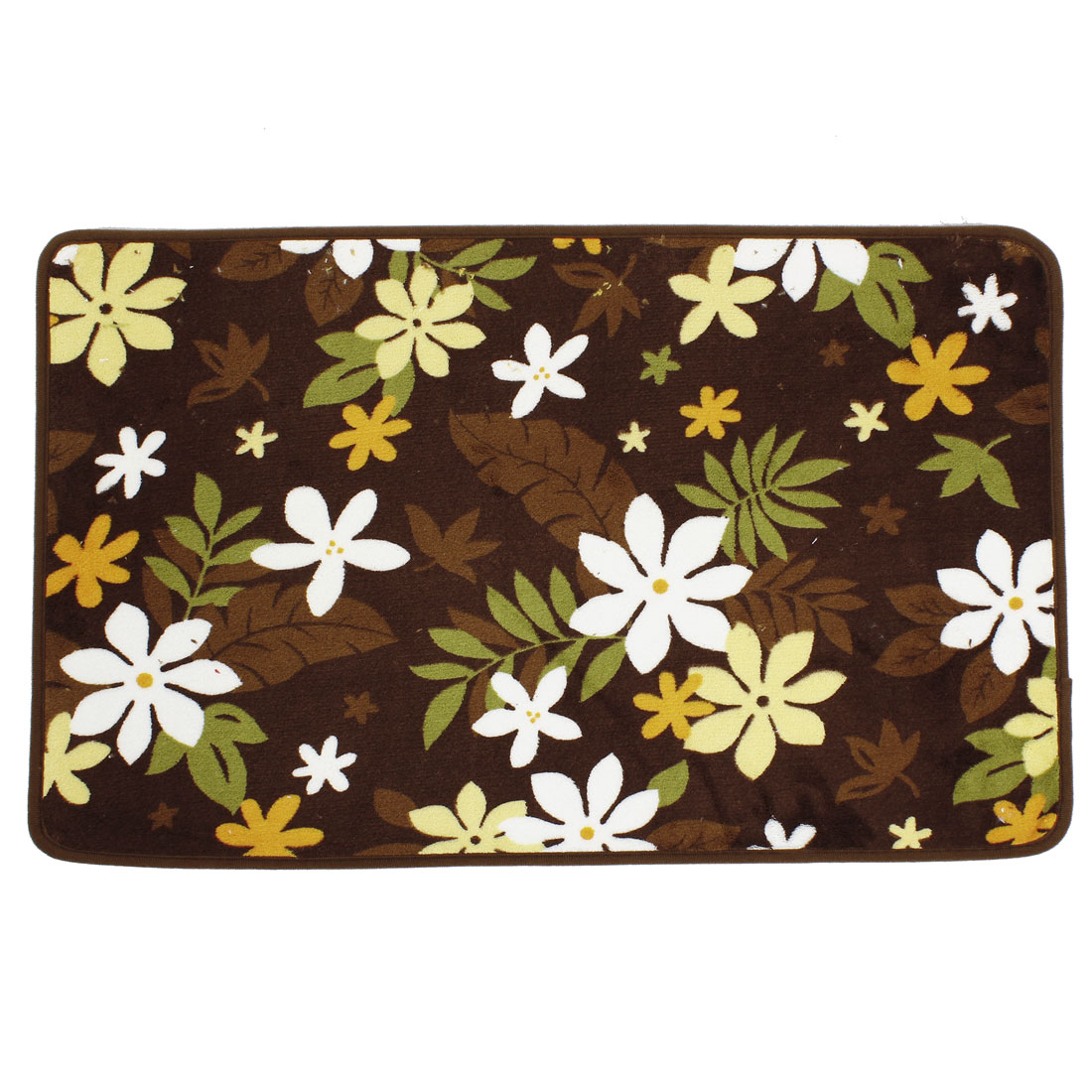 Coffee Color Flowers Leaves Patetrn Antislip Area Rug Carpet 70cm x 45cm