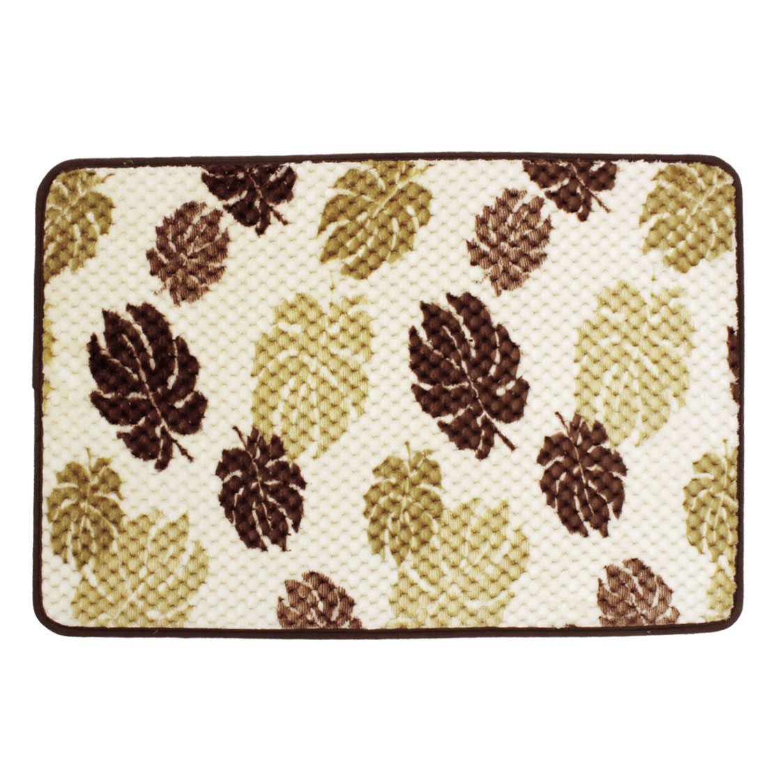 Beige Brown Leaves Patetrn Bedroom Floor Mat Area Rug Carpet 70cm x 45cm