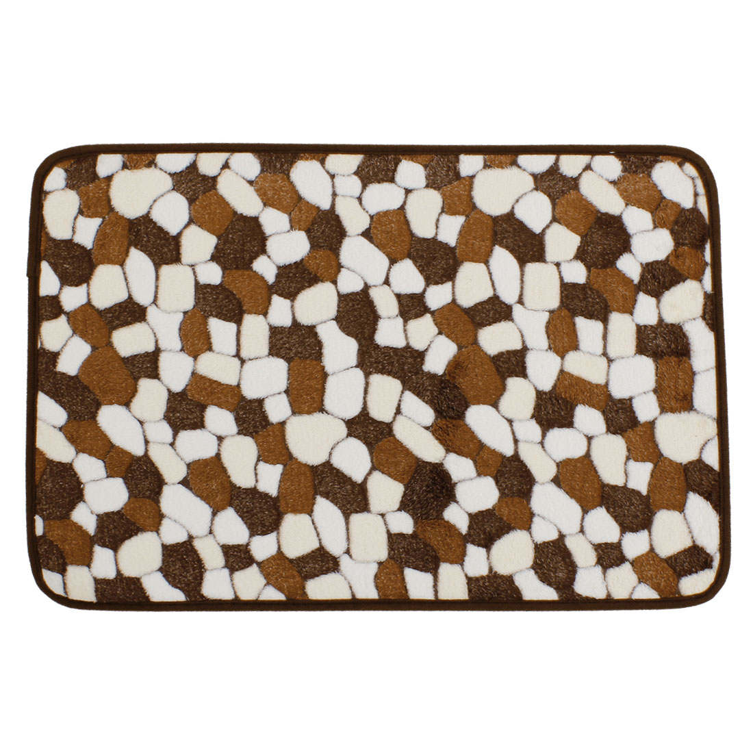 Bedroom White Brown Cobblestone Patetrn Nonslip Mat Area Rug Carpet 60cm x 40cm
