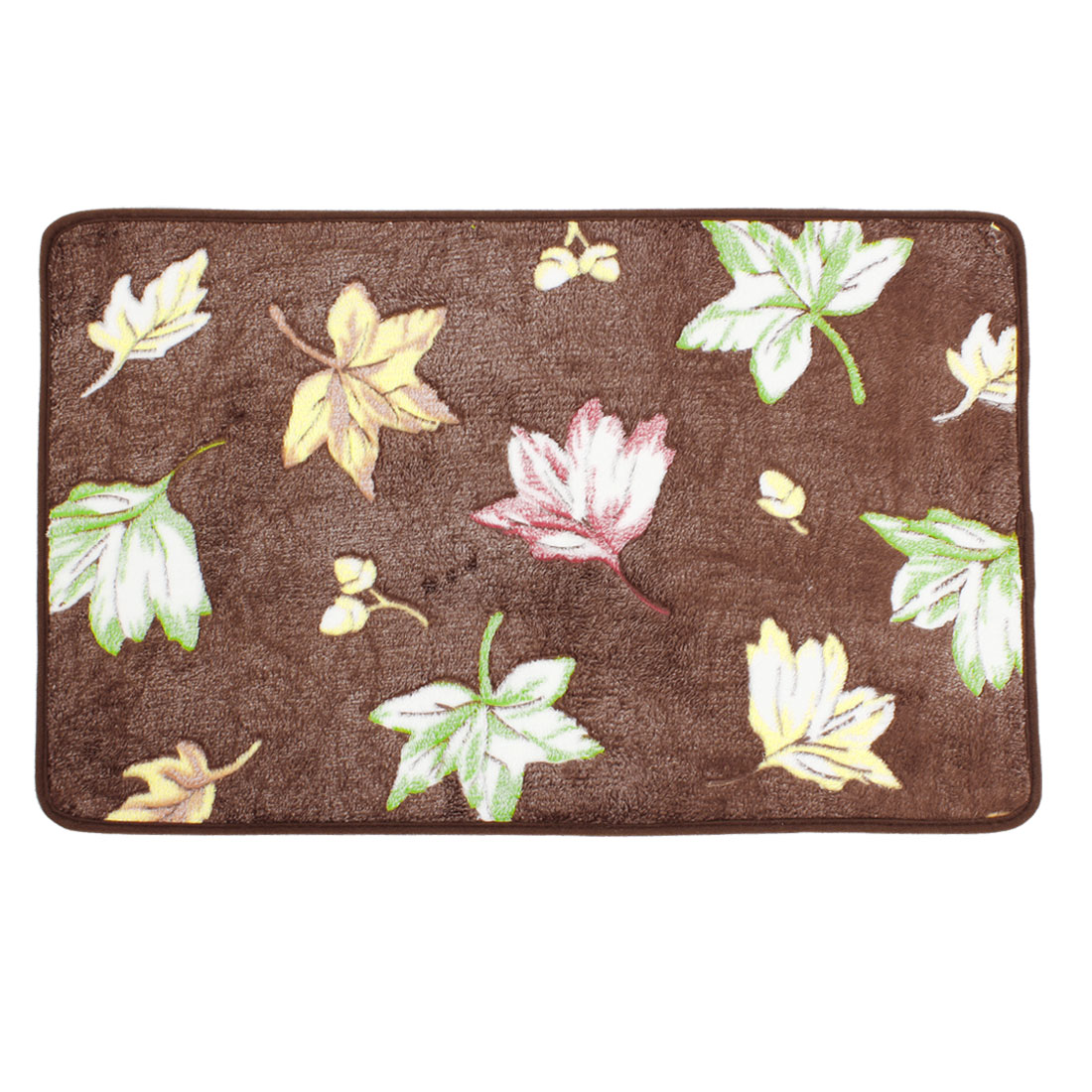 Coffee Color Maple Leaves Patetrn Kitchen Mat Area Rug Carpet 70cm x 45cm