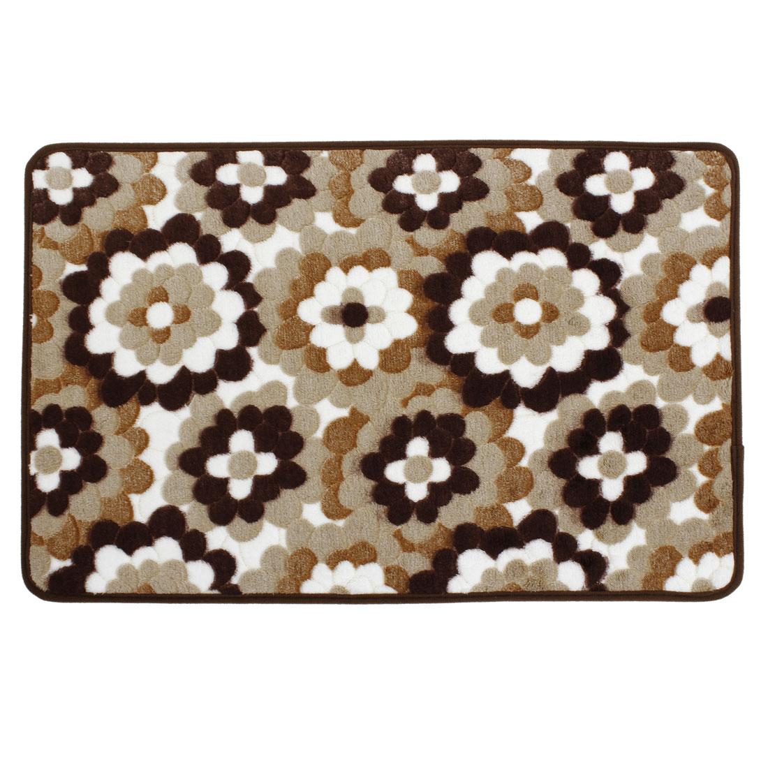 Brown White Flower Print Hallway Floor Mat Area Rug Carpet 60cm x 40cm