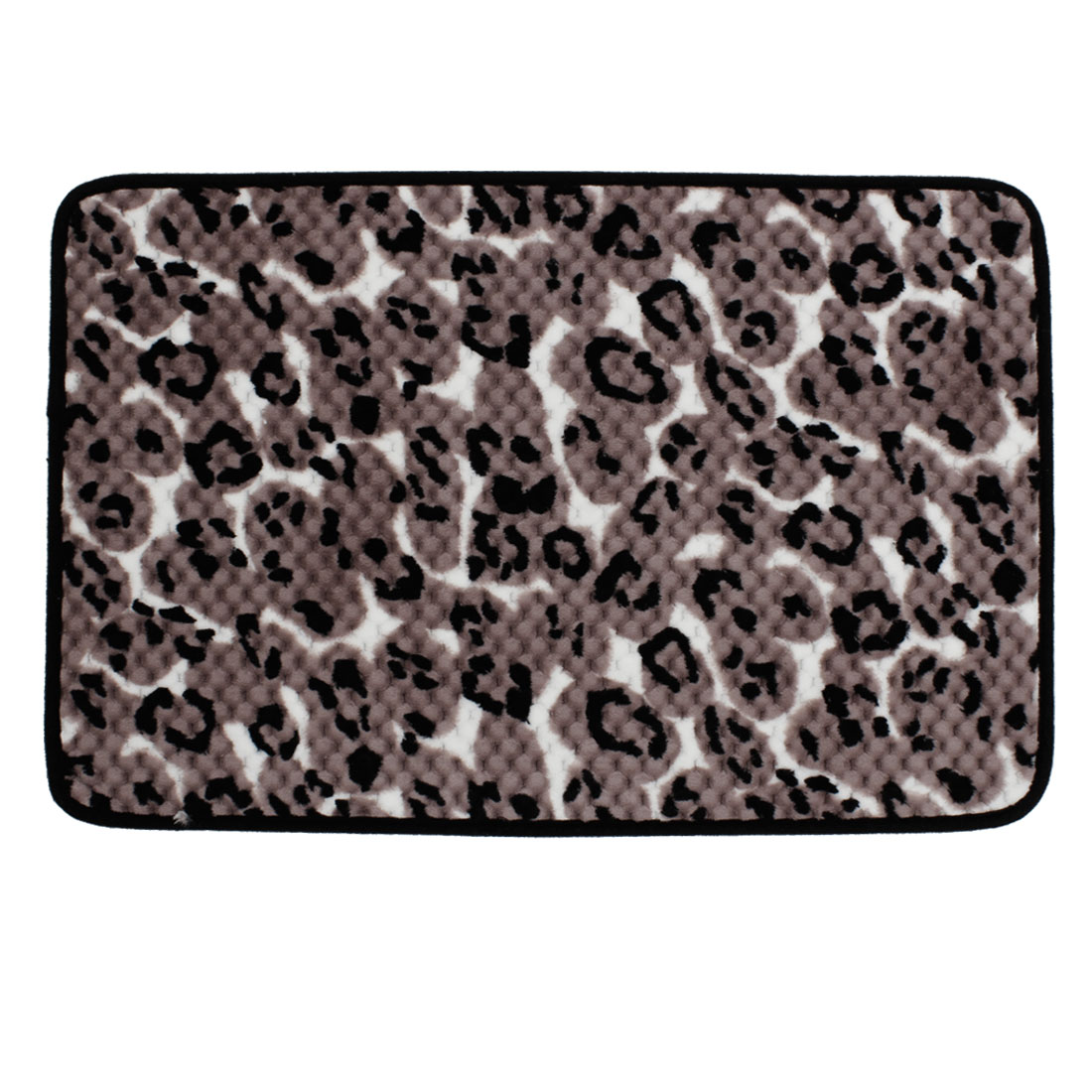 Rosy Brown Black Leopard Print Nonslip Floor Mat Area Rug Carpet 60cm x 40cm