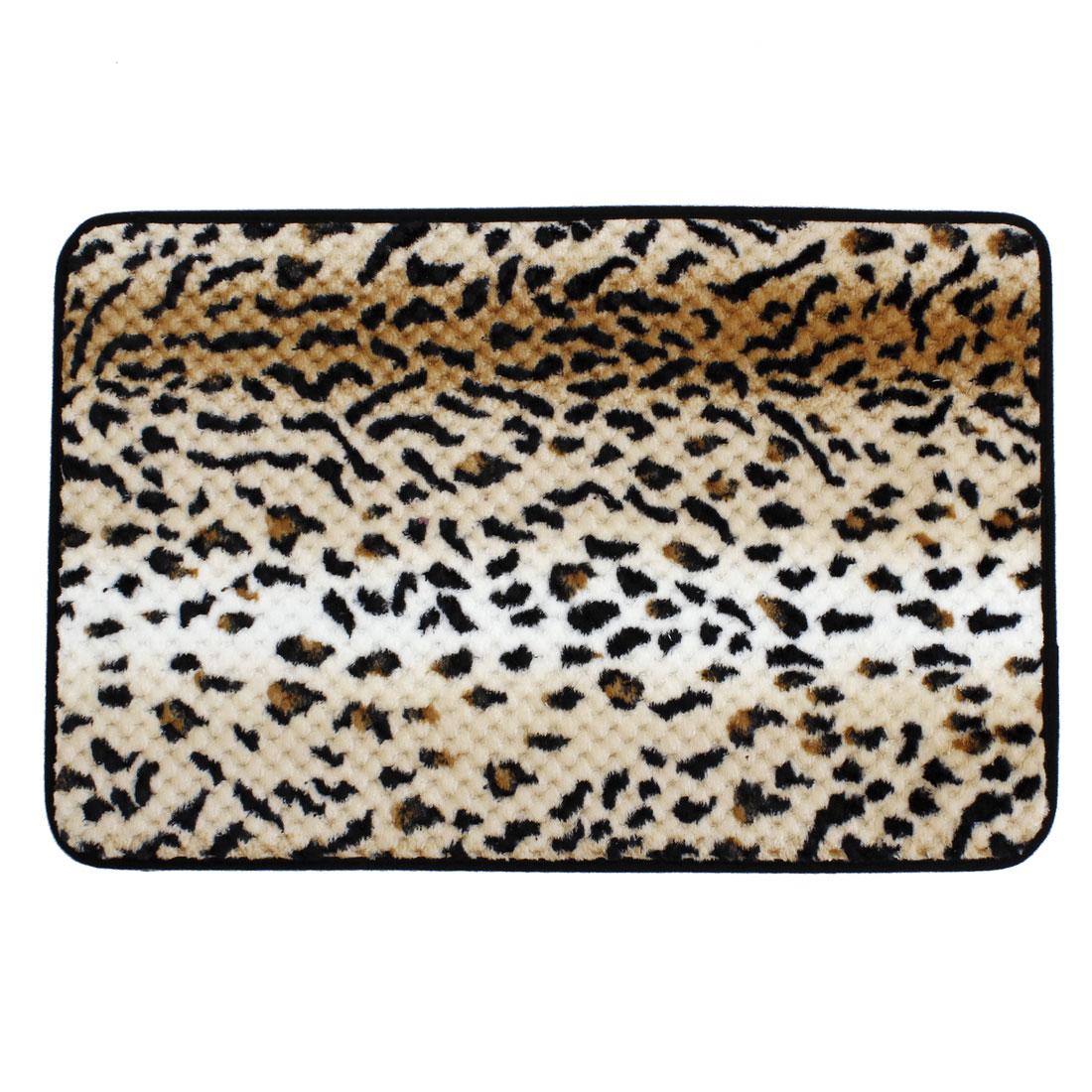 60cm x 40cm Black Brown Leopard Print Antislip Floor Mat Area Rug Carpet