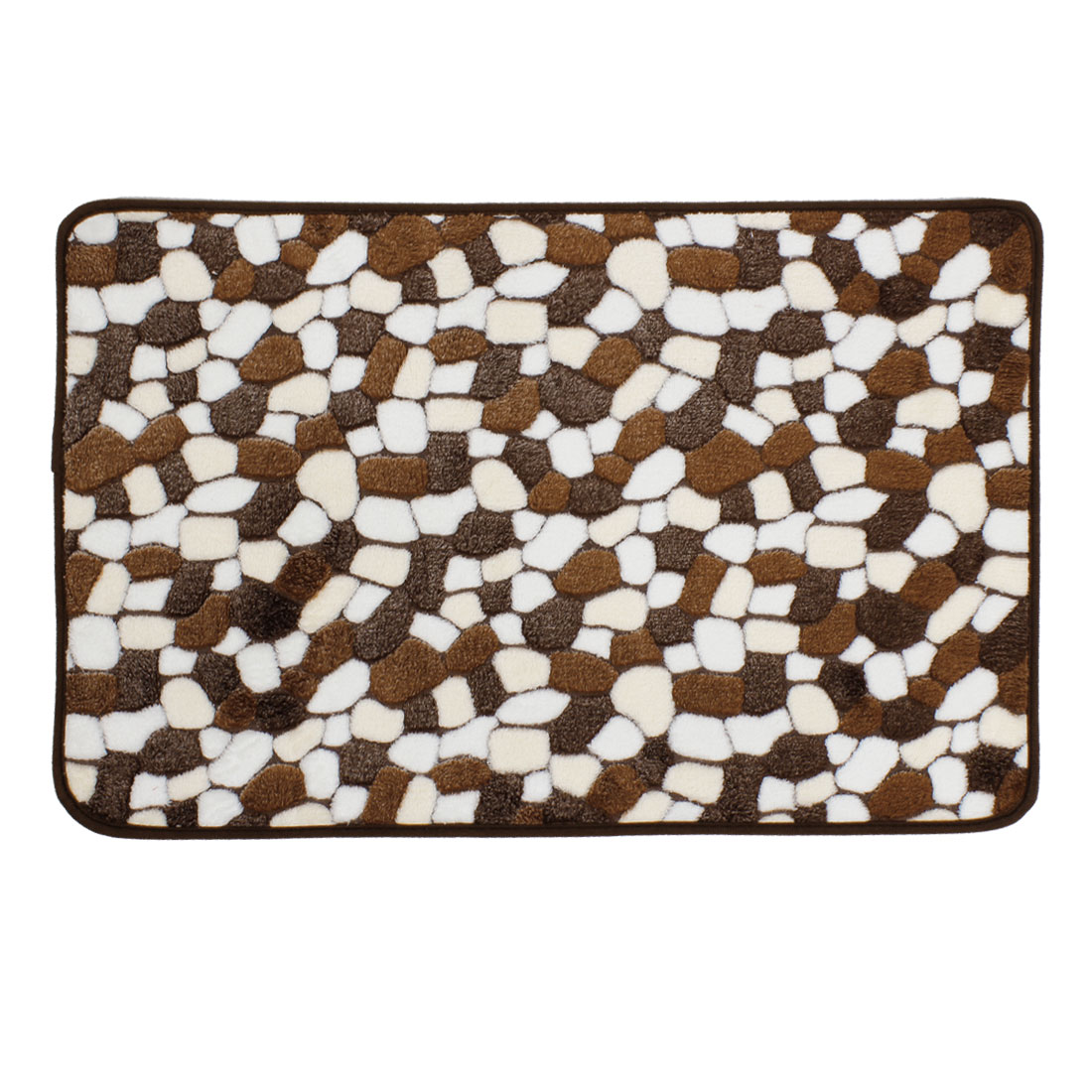 White Brown Cobblestone Patetrn Plush Mat Area Rug Carpet 70cm x 45cm