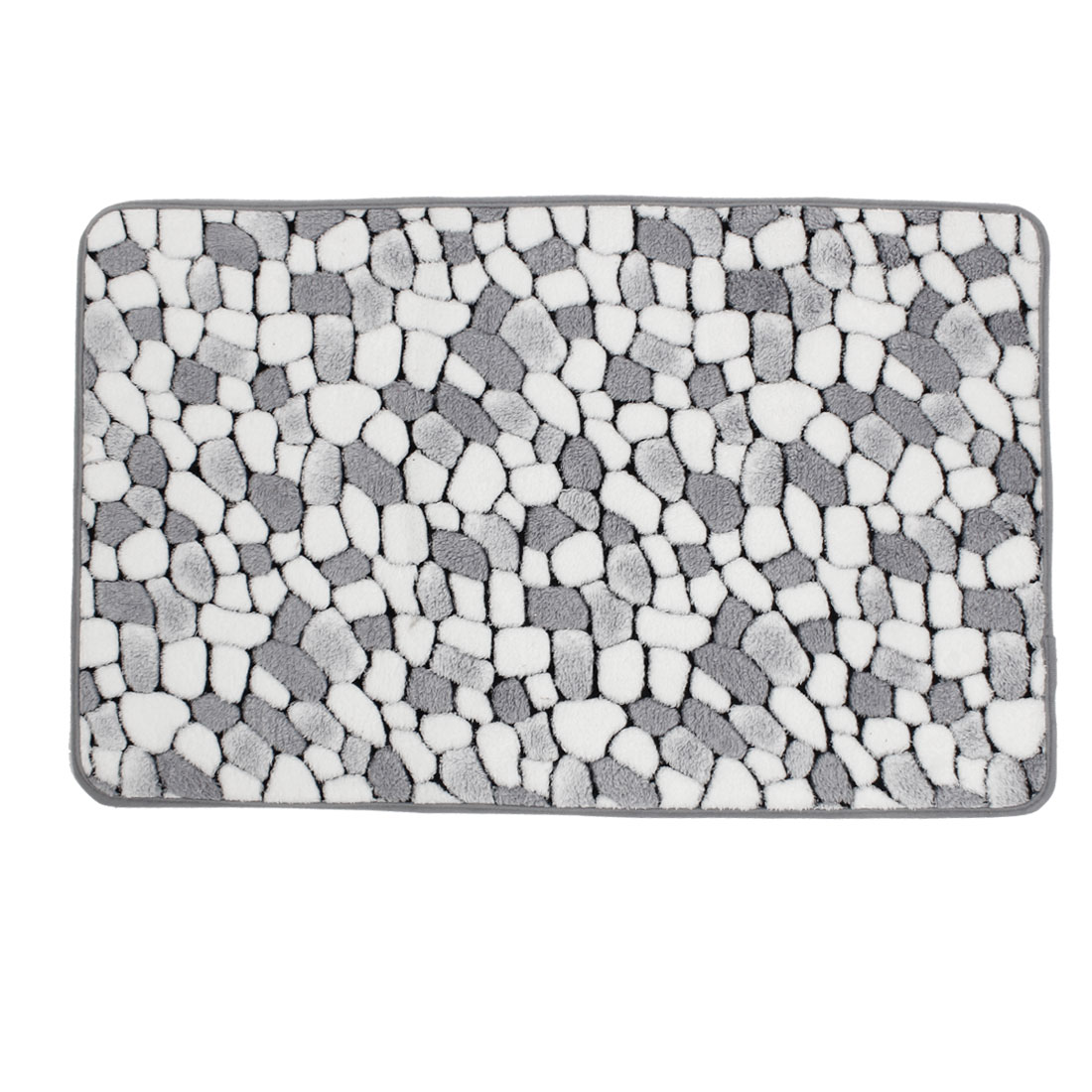 Bedroom White Gray Cobblestone Patetrn Nonslip Mat Area Rug Carpet 70cm x 45cm