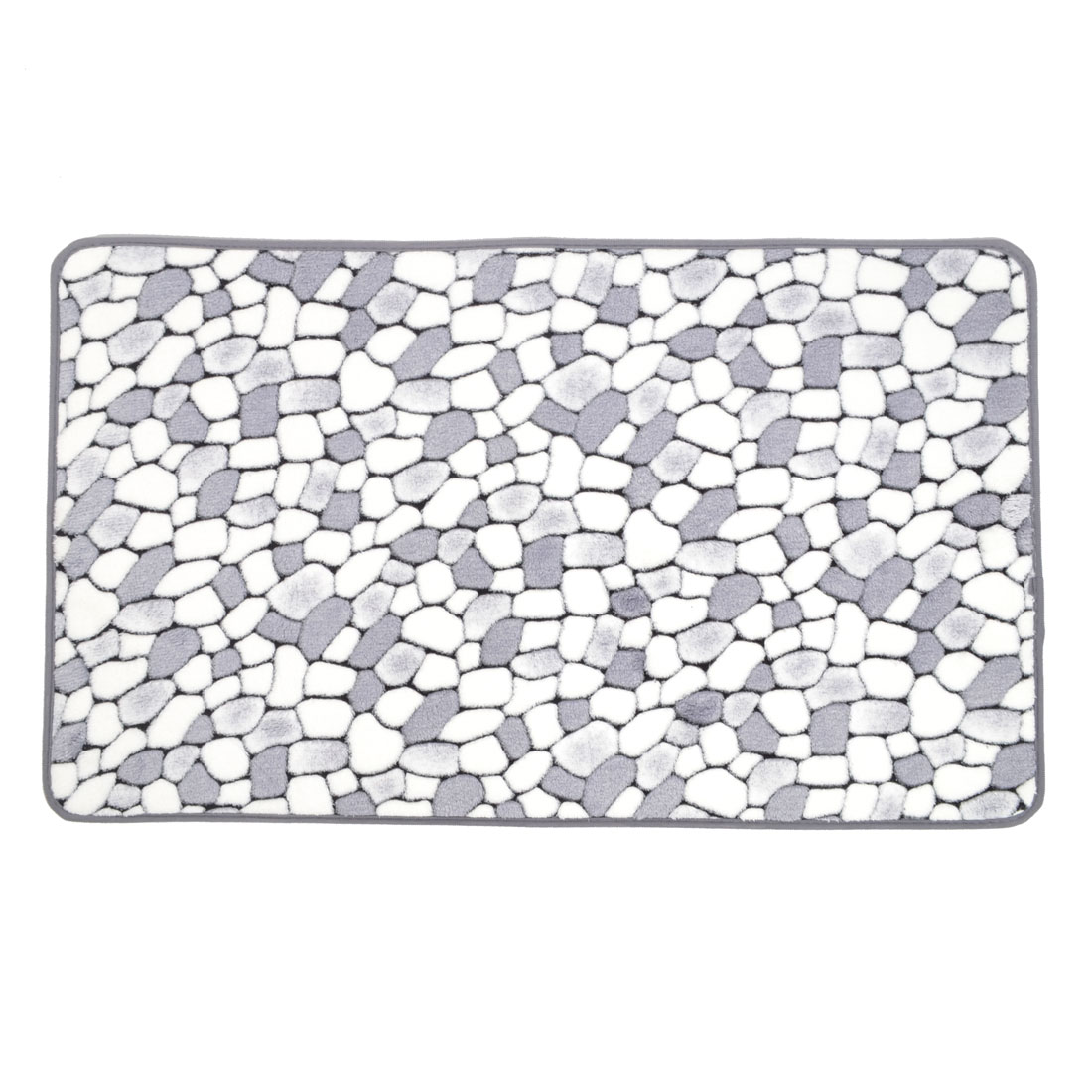Blue White Coral Fleece Cobblestone Pattern Kitchen Area Rug Carpet 80cm x 50cm