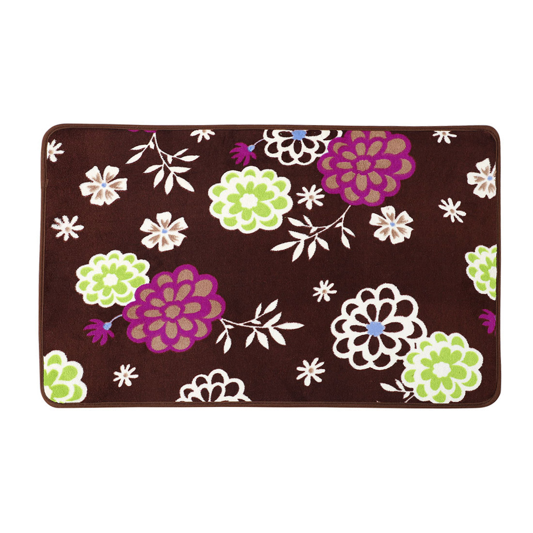 Dark Brown Flowers Pattern Nonslip Floor Mat Area Rug Carpet 80cm x 50cm