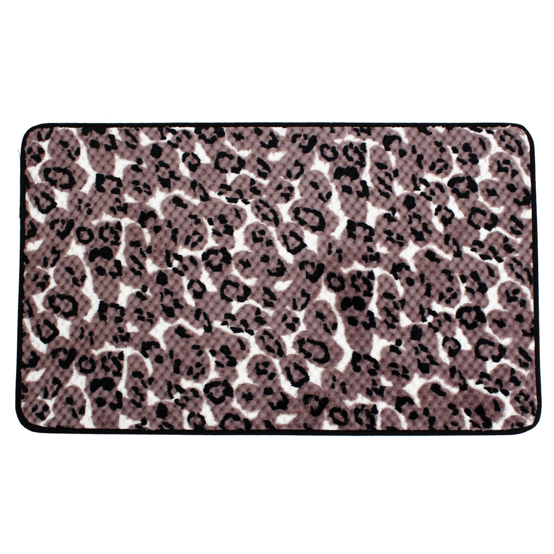Rosy Brown Black Leopard Print Antislip Floor Mat Area Rug Carpet 80cm x 50cm