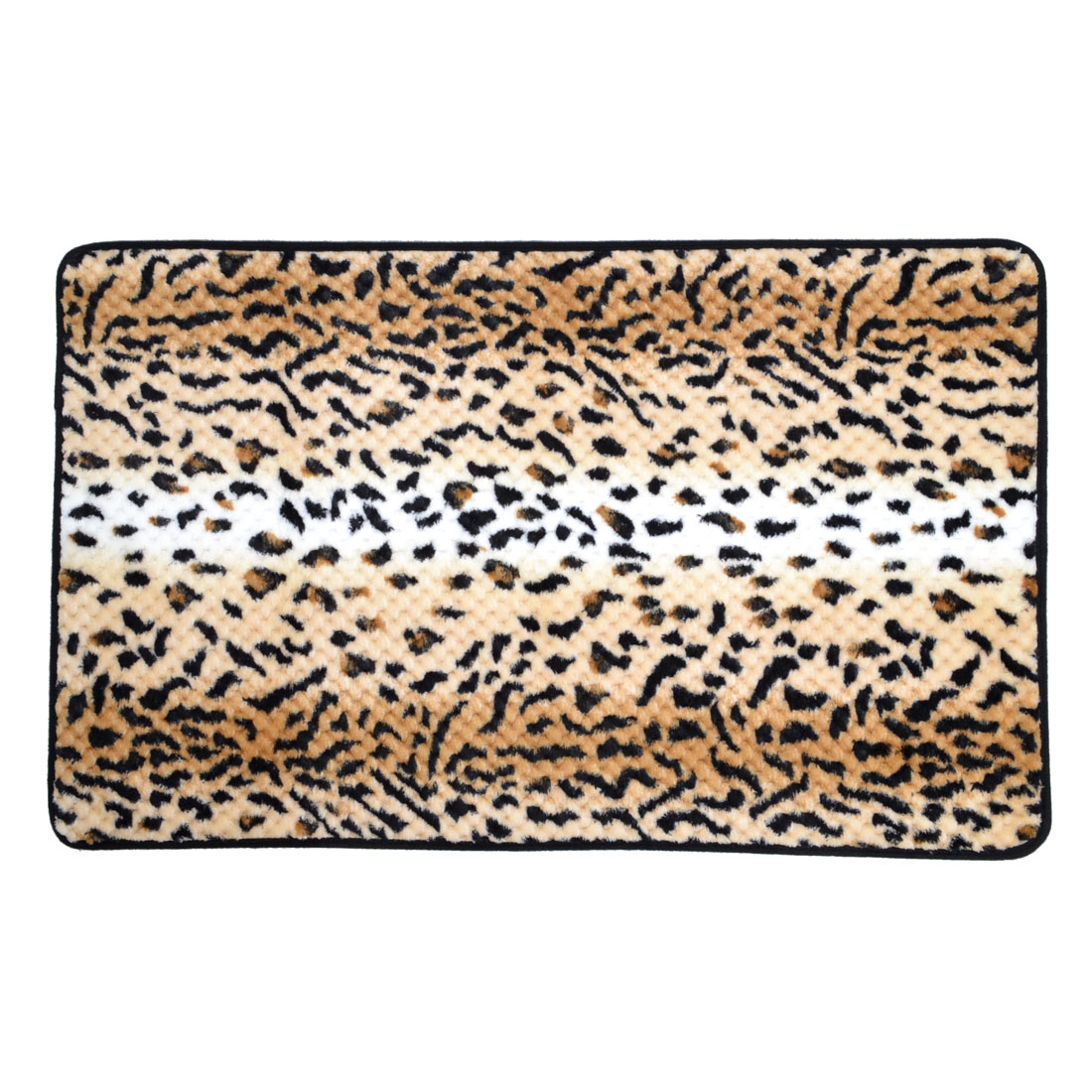 Brown Coral Fleece Leopard Pattern Kitchen Floor Area Rug Carpet 80cm x 50cm