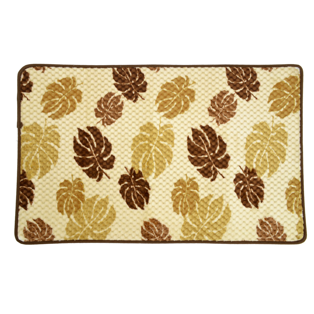 Brown Beige Coral Fleece Leaf Pattern Kitchen Floor Area Rug Carpet 80cm x 50cm