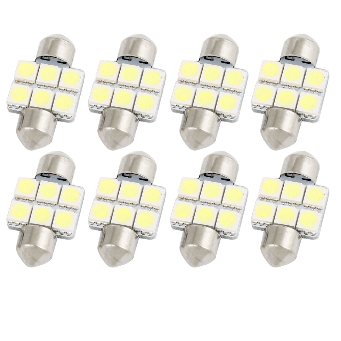 8Pcs 31mm 5050 SMD 6 LED White Festoon Dome Map Reading Light 3175 3022 3021 Internal