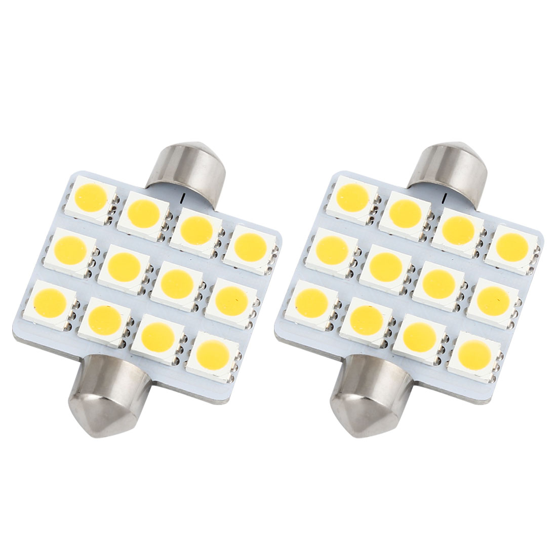 "2Pcs 42mm 1.65"" 5050 SMD 12-LED Festoon Dome Light Warm White 211 560 578 Internal"