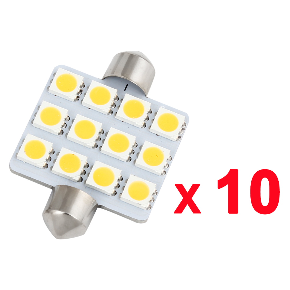 10PCS Warm White 42MM 5050 12-SMD Festoon Dome Light Lamp Bulb Interior for Car