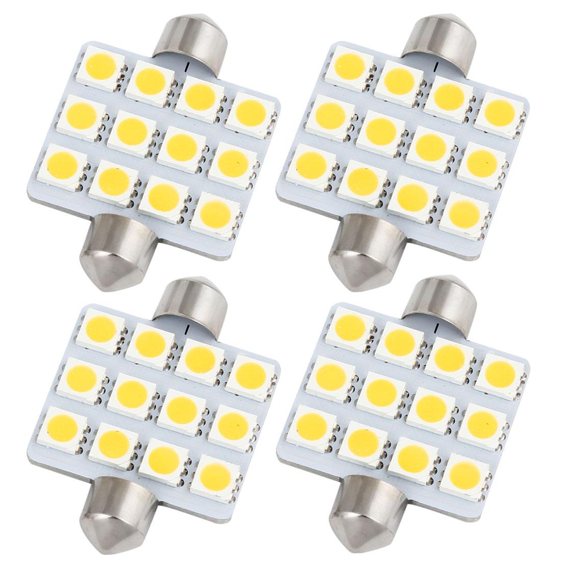 4Pcs 42mm 12-SMD 5050 LED Warm White Festoon Dome Light Bulbs 560 212-2 Internal