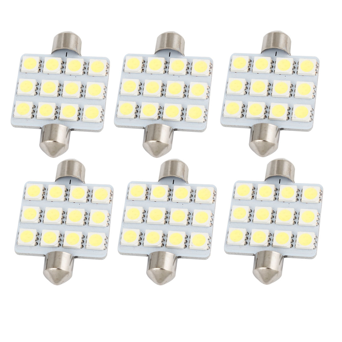 "6Pcs 42mm 1.65"" 5050 SMD 12-LED Festoon Dome Light White 212 569 6413 Internal"
