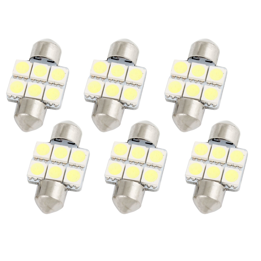 6Pcs 31mm 5050 SMD 6 LED White Festoon Dome Map Reading Light 3175 3022 3021 Internal
