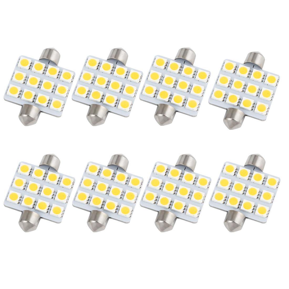 "8Pcs 42mm 1.65"" 5050 SMD 12-LED Festoon Dome Light Warm White 211 560 578 Internal"
