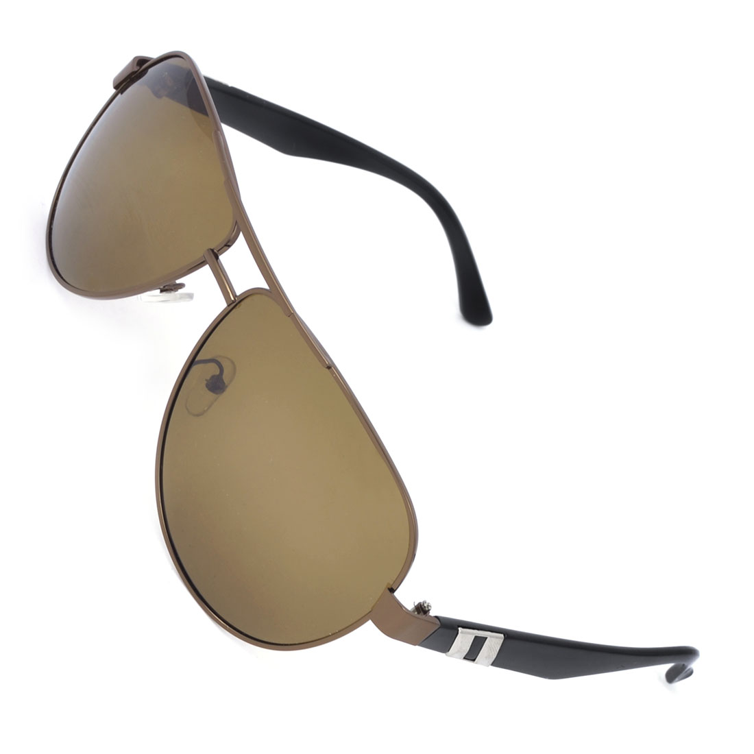 Man Double Bridge Full Rimmed Brown Lens Polarized Sunglass