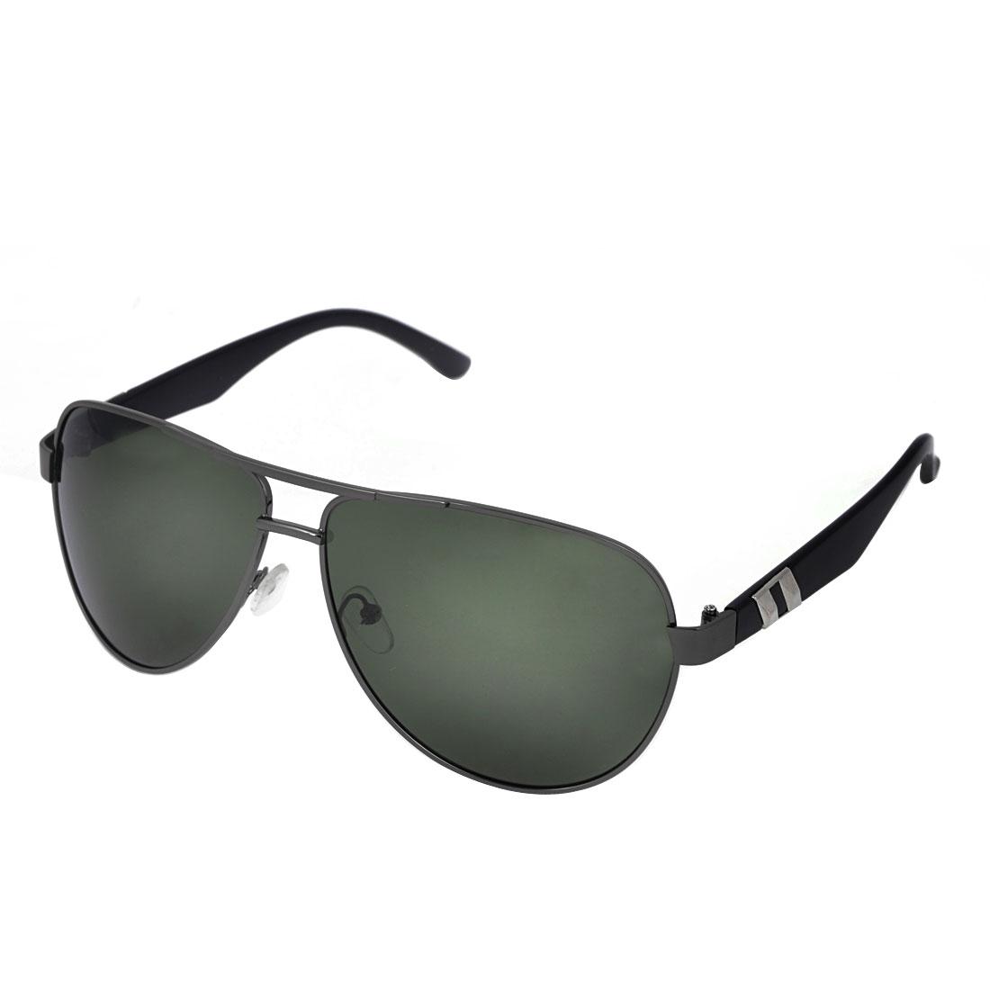 Man Black Arms Metal Frame Gray Green Waterdrop Lens Double Bridge Polarized Sunglasses
