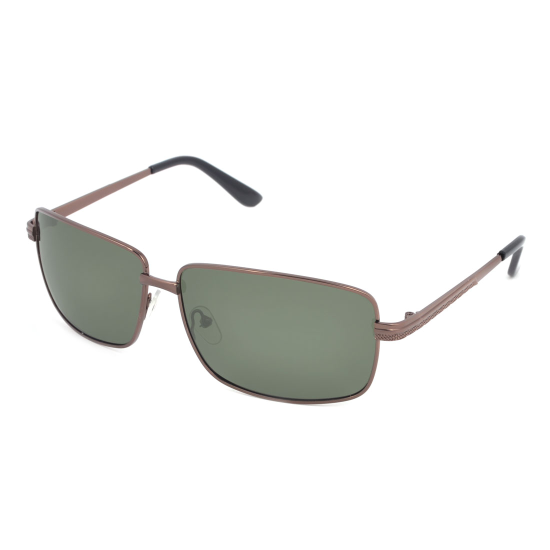 Man Brown Metallic Frame Single Bridge Polarized Sun Glasses