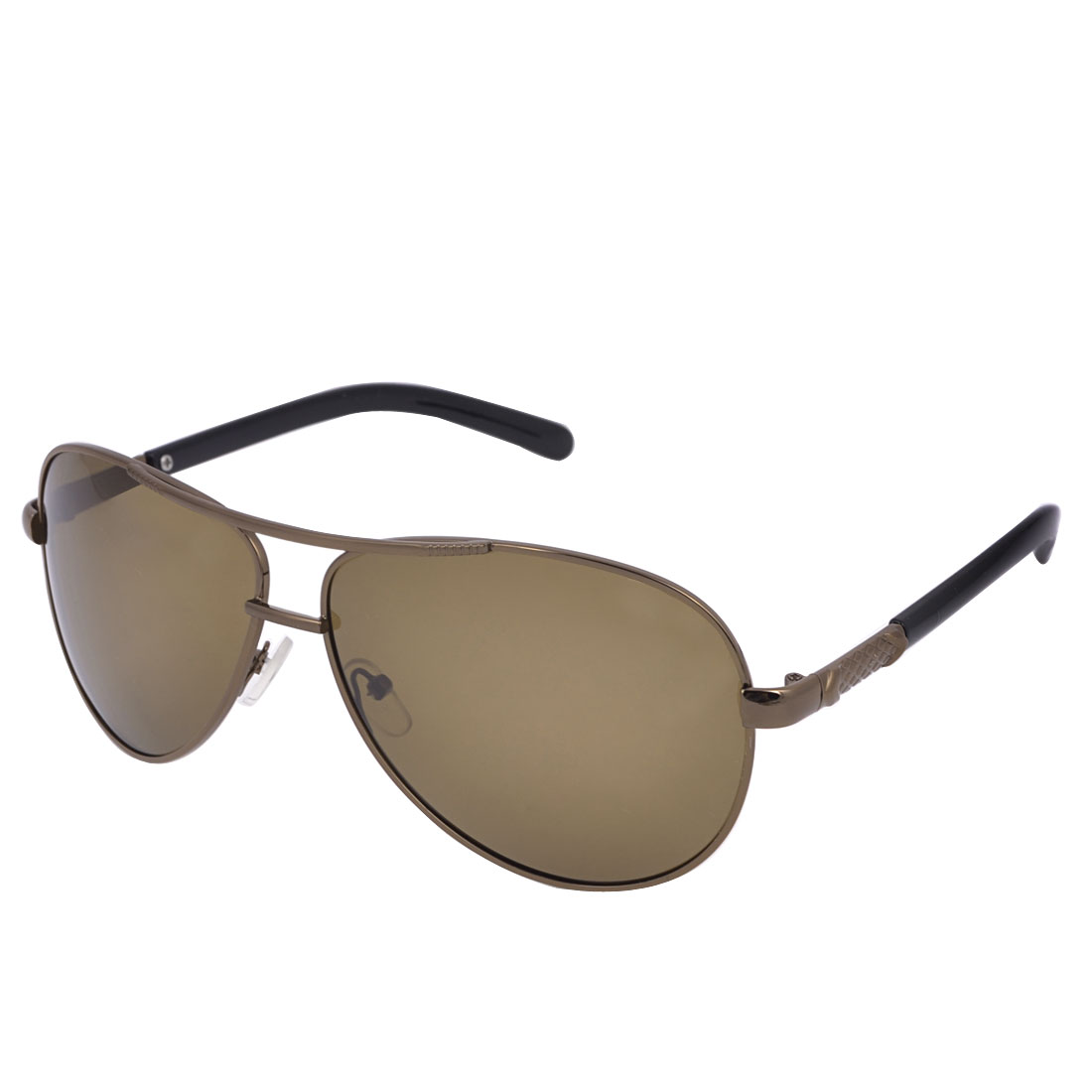Man Two Bridge Metal Full Rim Brown Lens Polarized Sunglasses Sun Glasses