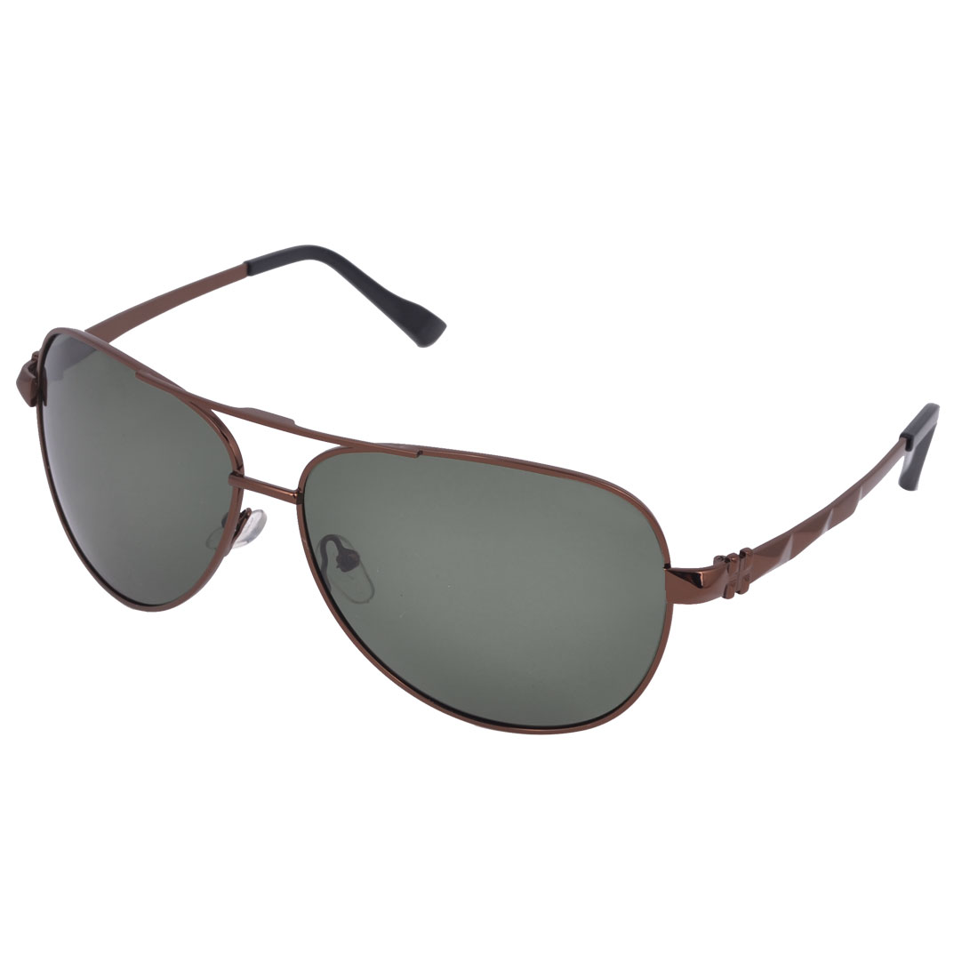 Brown Full Frame Gray Green Waterdrop Lens Double Bridge Polarized Sunglasses for Man