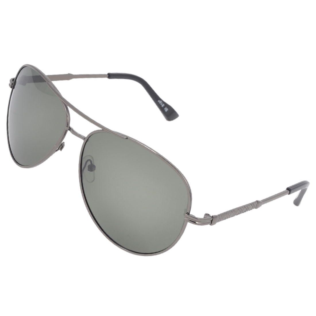 Man Double Bridge Metal Full Rim Gray Green Teardrop Lens Polarized Sun Glasses