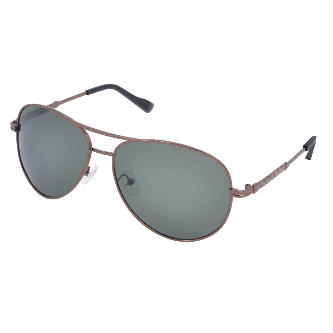 Man Brown Double Bridge Full Rim Gray Green Waterdrop Lens Polarized Sunglasses