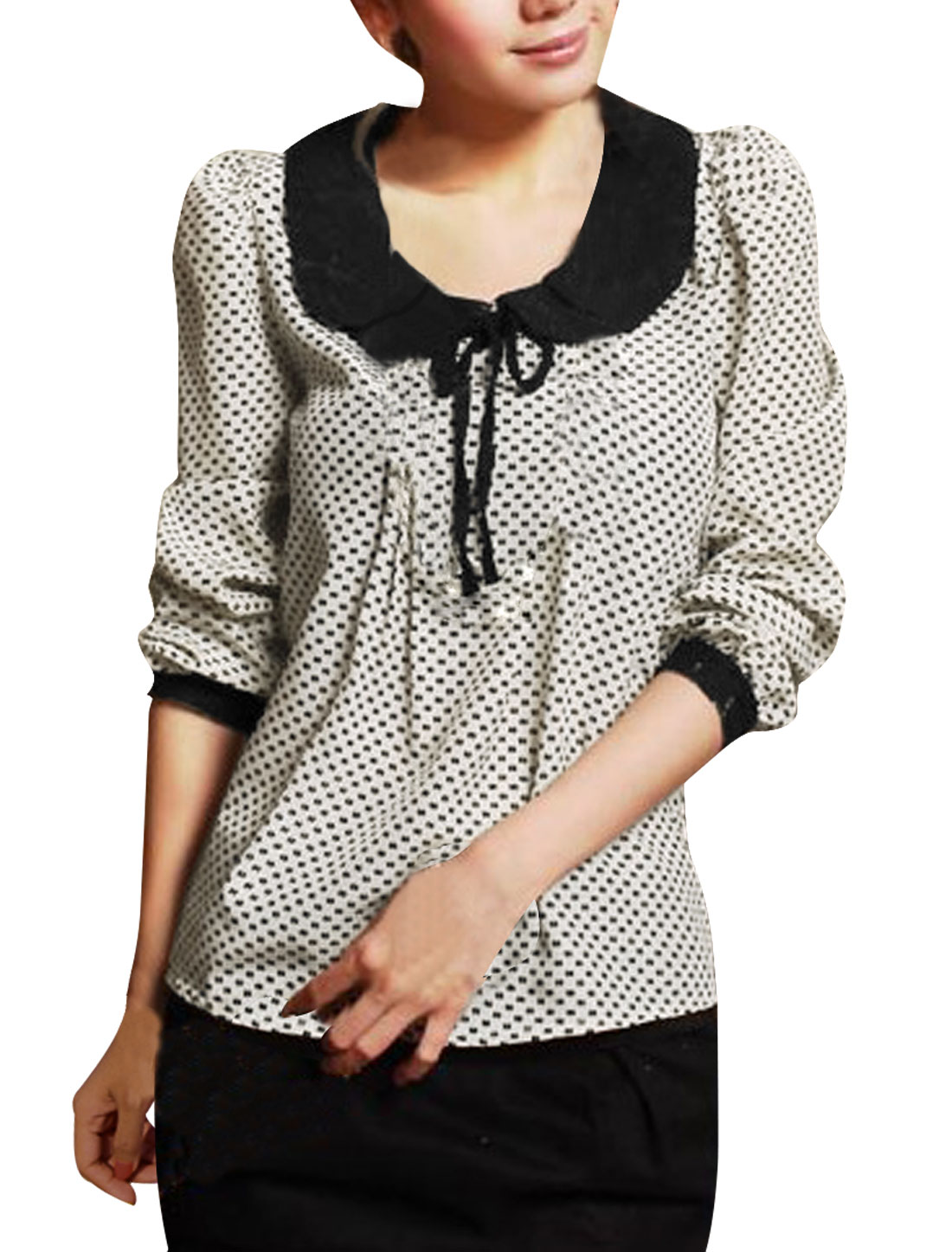 Women Doll Collar Long Sleeves Dots Blouse Off White M
