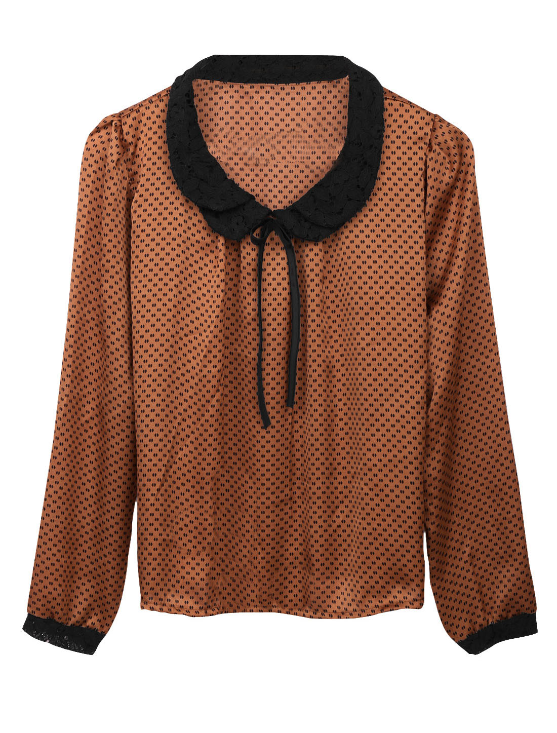 Women Peter Pan Collar Long Sleeves Dots Top Brown XS