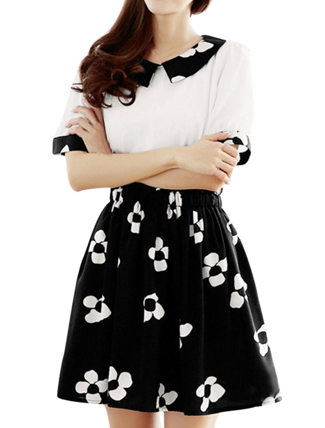 Lady Layered Design Floral Print Elastic Waist Chiffon Dress Black White XS