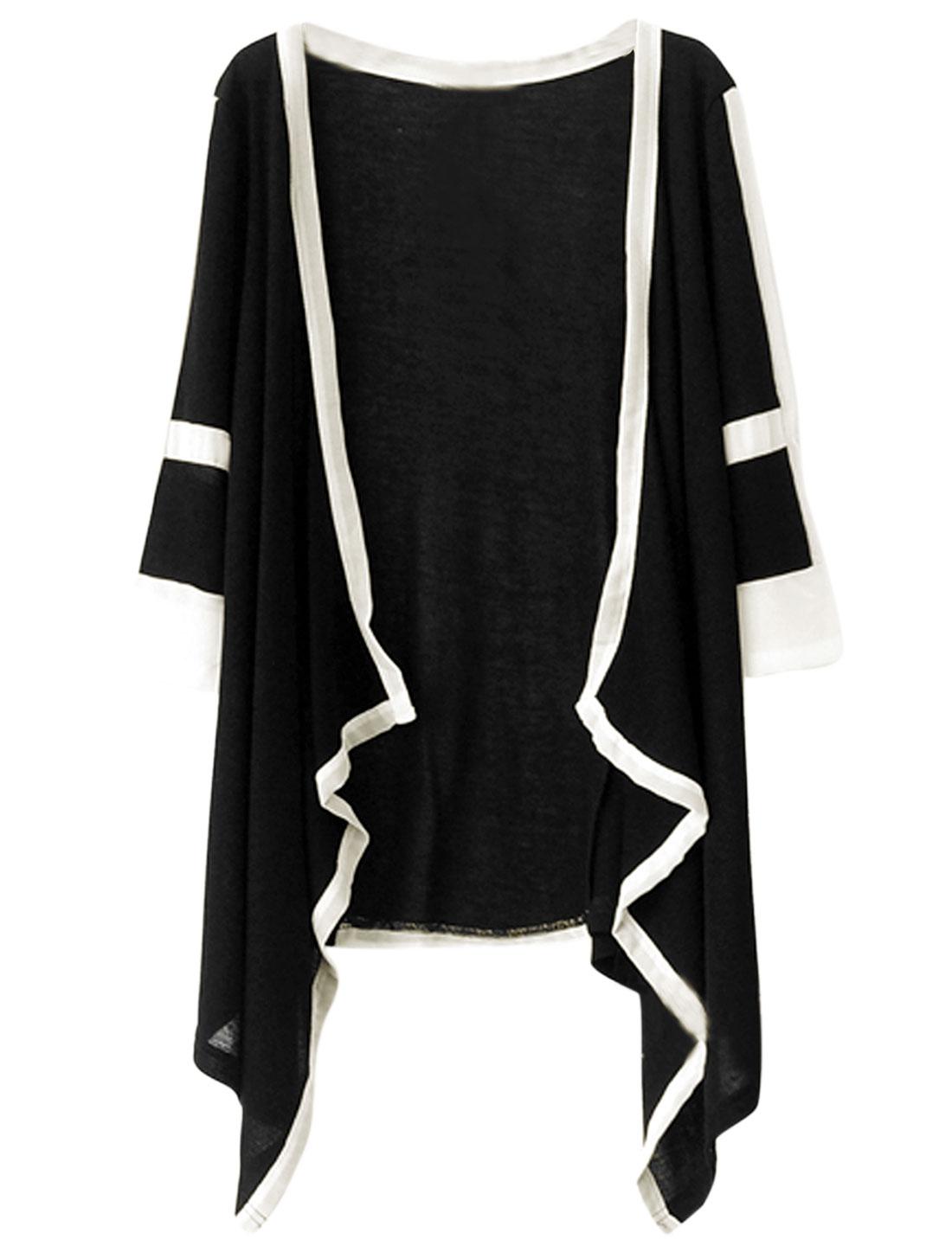 Lady Three Quarter Sleeve Asymmetric Hem Striped Knit Cardigan Black White XS