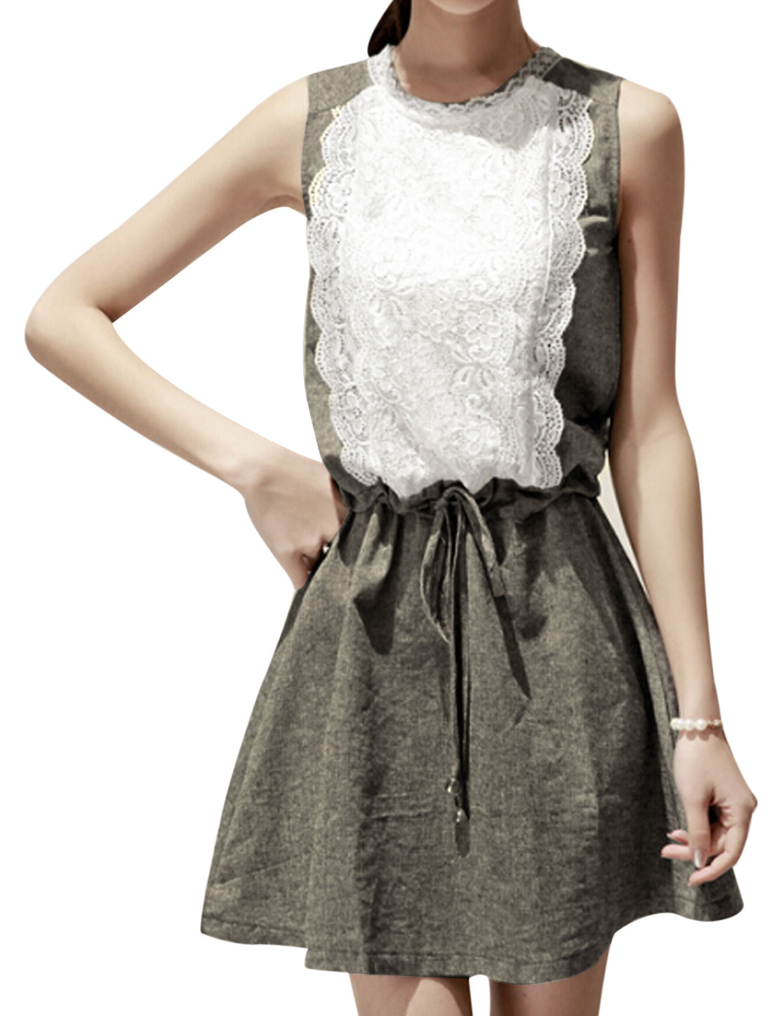 Women Lace Patchwork Flower Design Drawstring Waist Dress Dark Gray XS