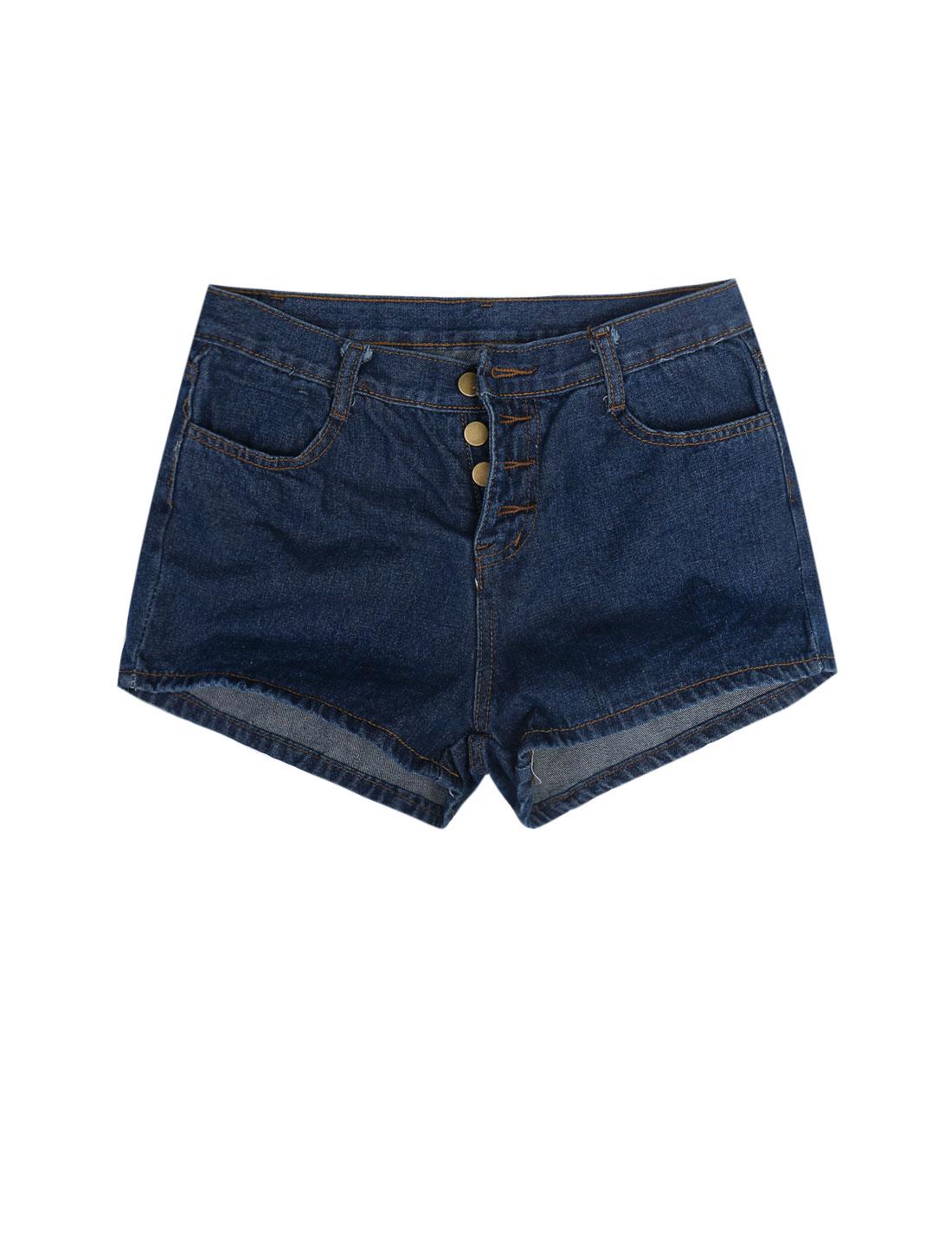 Lady Casual Belt Loop Button Closure High Rise Denim Shorts Dark Blue M