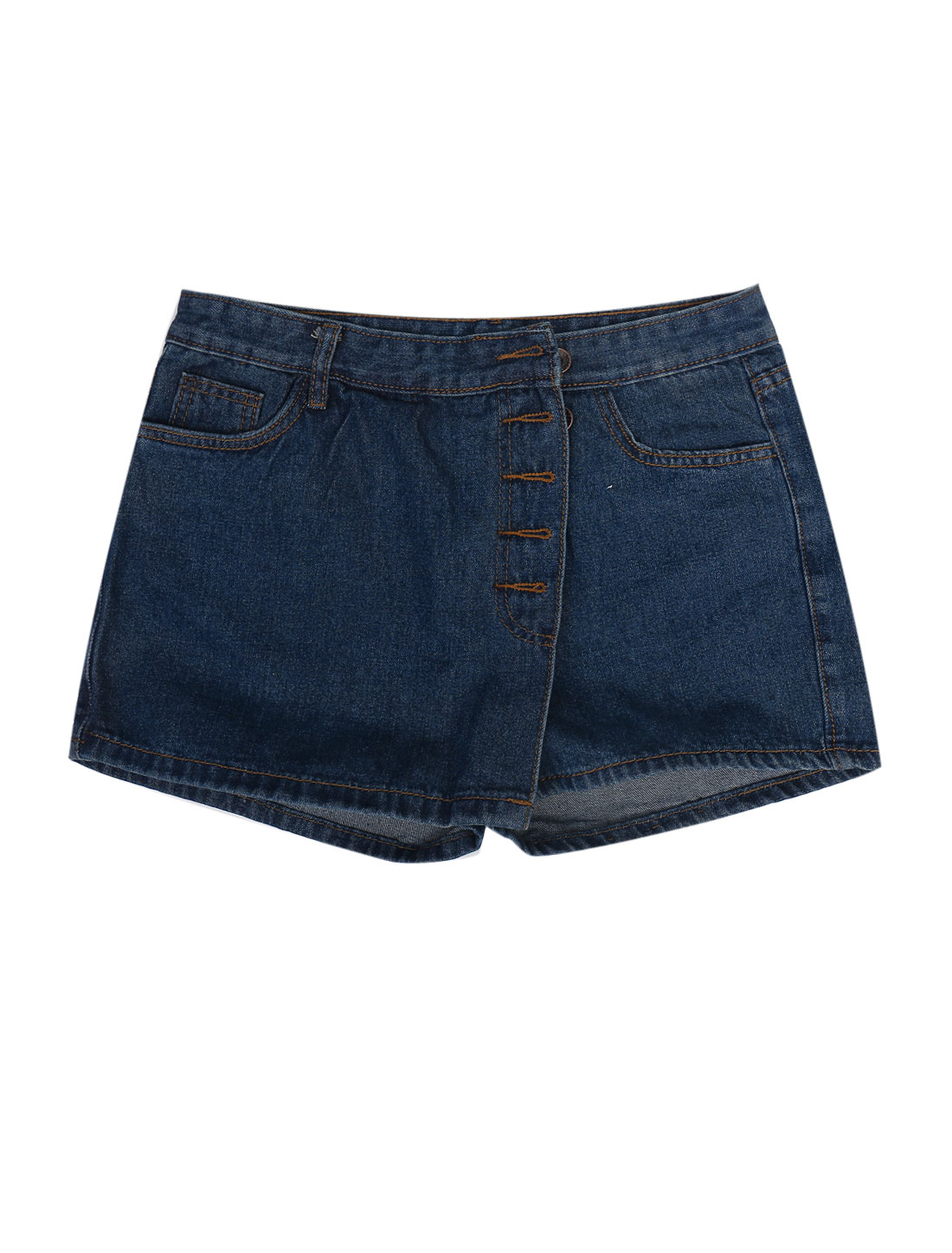 Lady Belt Loop Button Closure Casual Denim Skort Dark Blue M