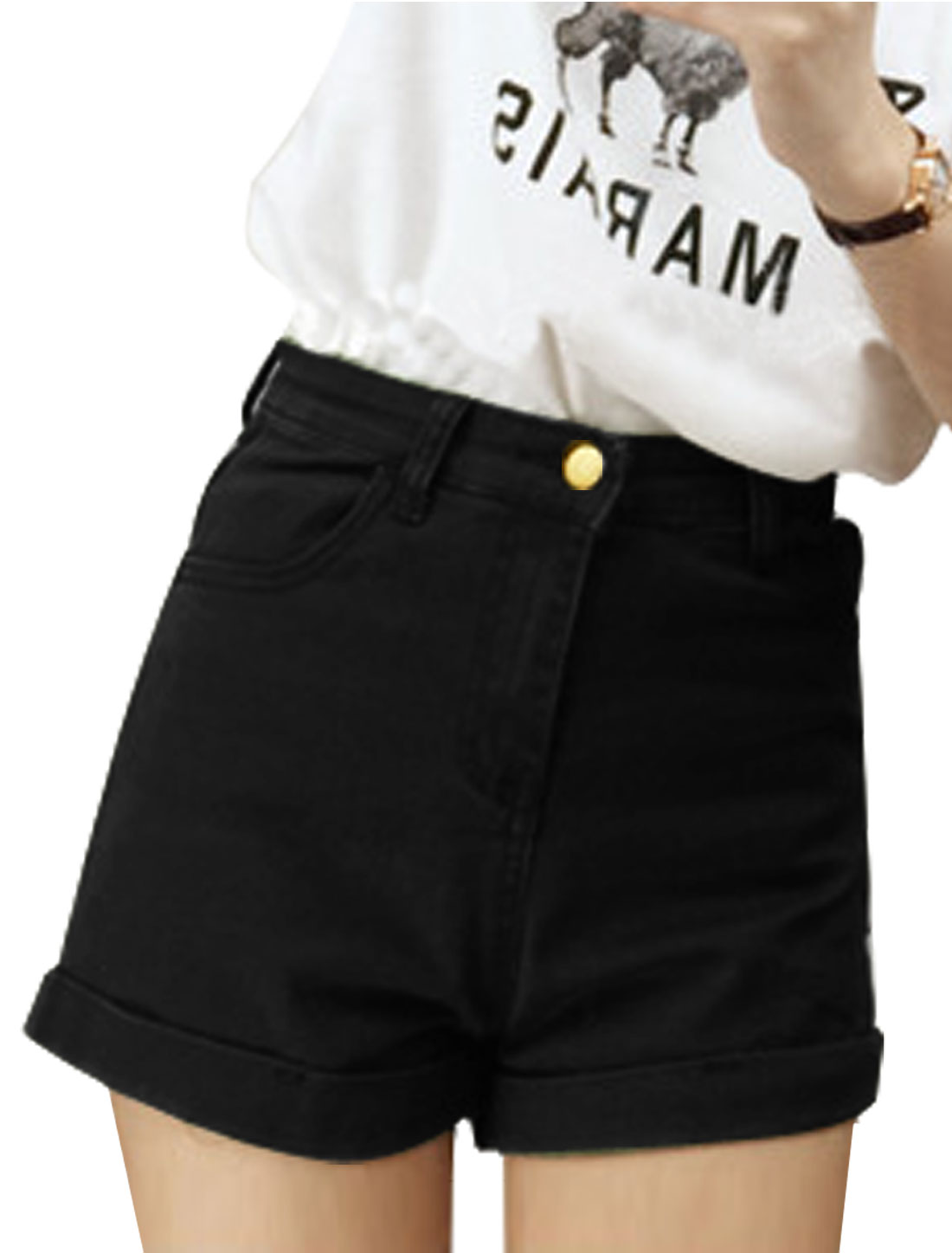 Women's Zip Fly Single Button Closure Roll-up Hem Shorts Black S