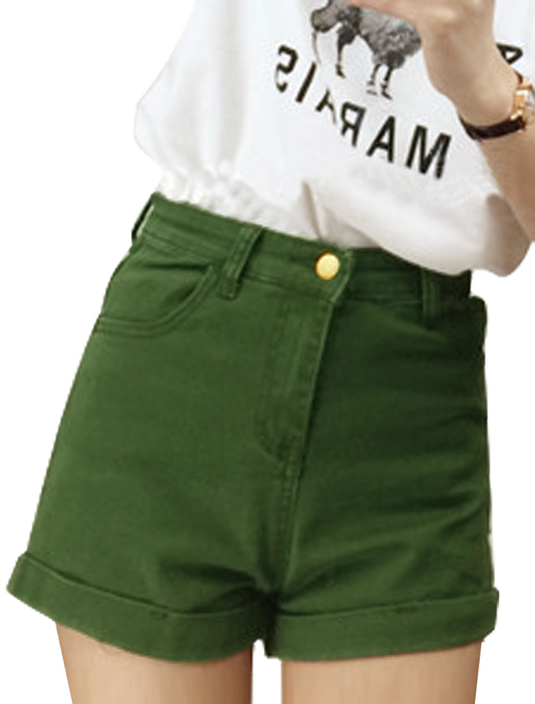 Lady Zip Fly Roll-up Hem Front Pockets Belt Loop Shorts Army Green S
