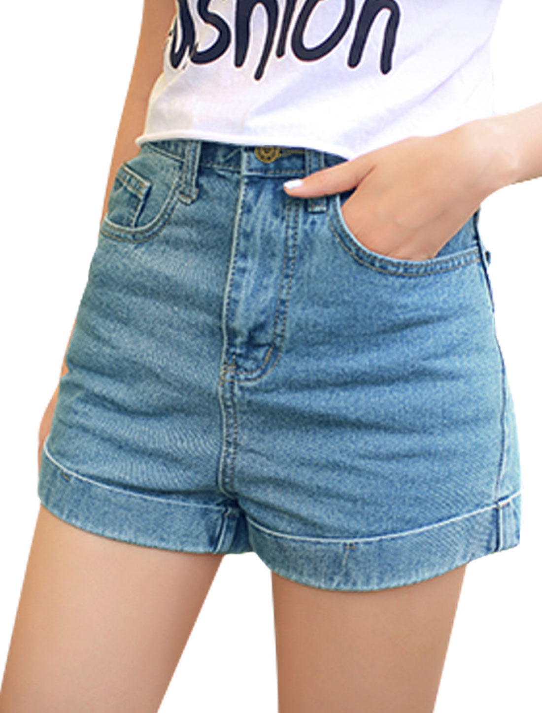 Ladies Stylish One Button Up Cuffed Pockets Front Denim Shorts Blue M