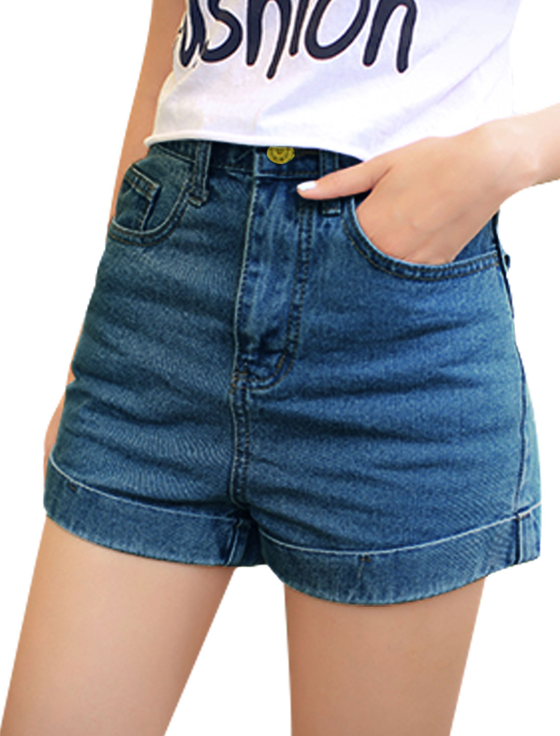 Ladies Stylish One Button Up Roll Up Cuffs Denim Shorts Dark Blue M