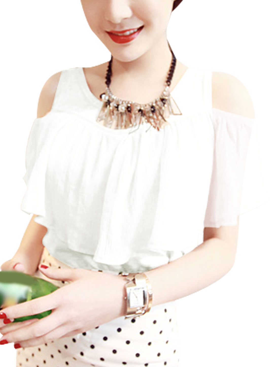 Lady Sleeveless Panel Design Flouncing Top T-Shirt White XS