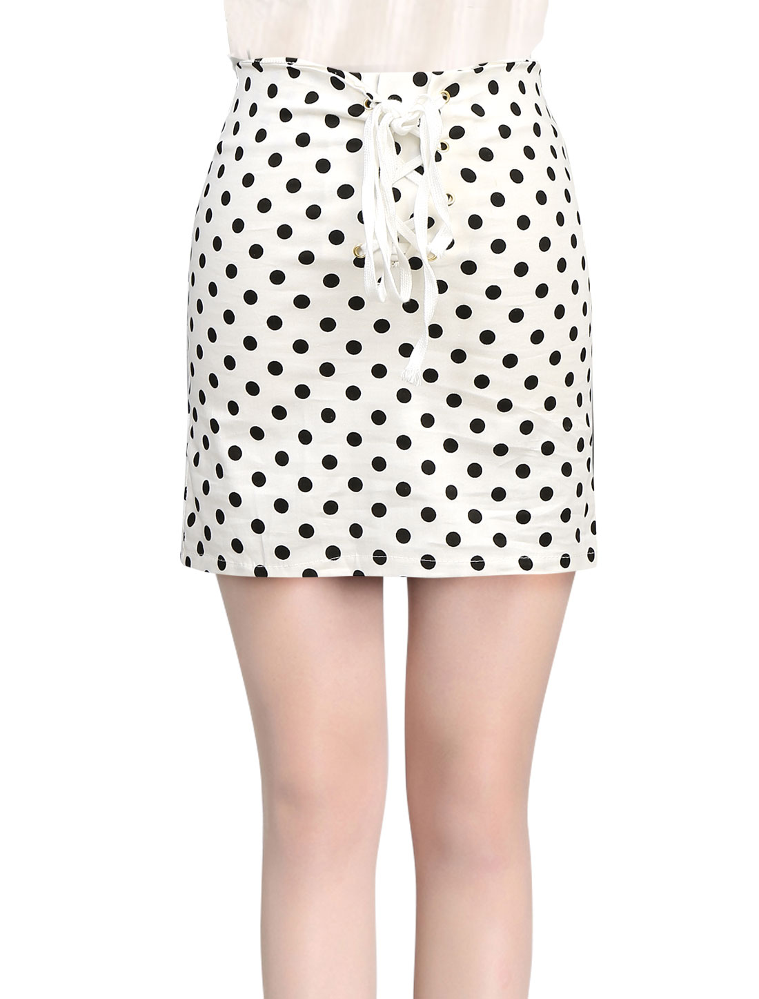 Ladies Stretchy Dots Pattern Lace-Up Front Sweet Mini Skirt White XS