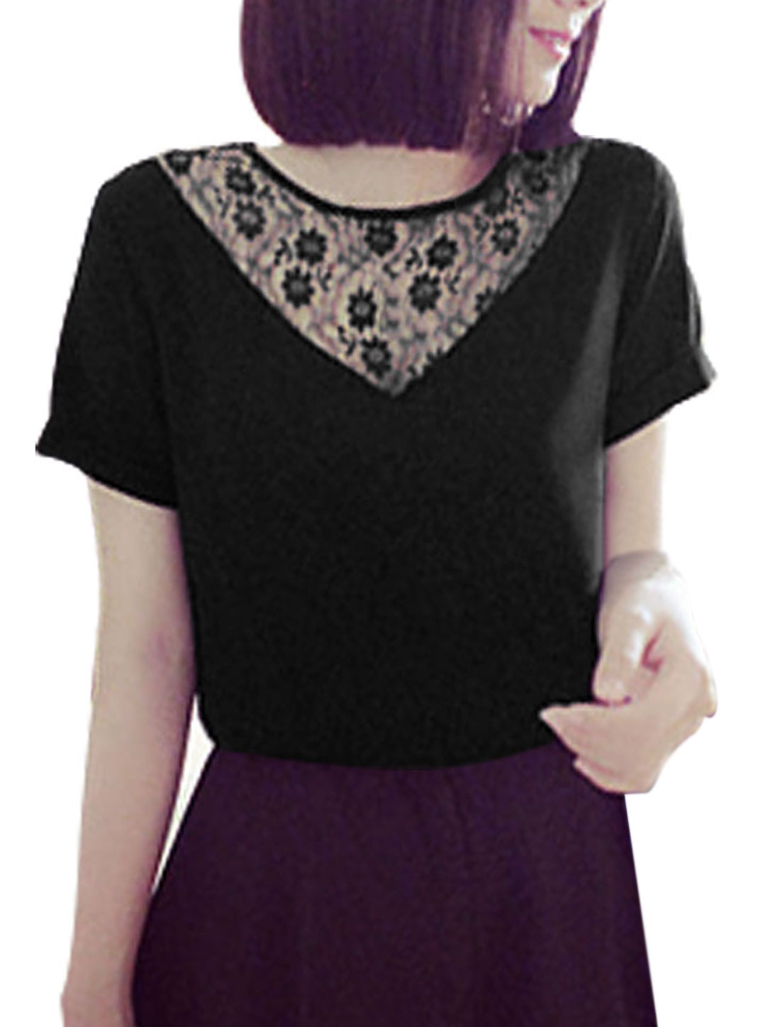 Lady Short Sleeve Lace Panel Concealed Zipper Back Chiffon Blouse Black XS