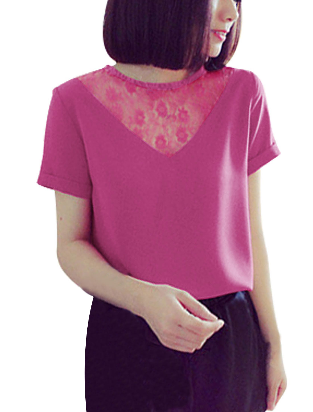 Lady Short Sleeve Concealed Zipper Back Lace Panel Blouse Fuchsia XS