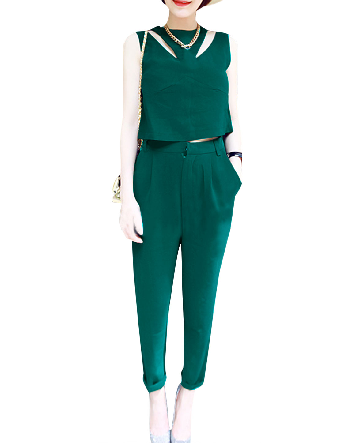 Ladies Cut out Front Cropped Top w Pockets Front Pants Set Dark Green S