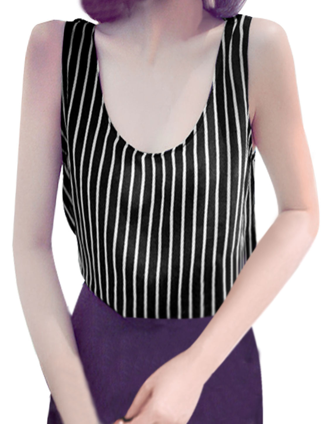 Lady Pullover U Neck Sleeveless Stripes Chiffon Tank Top Black XS